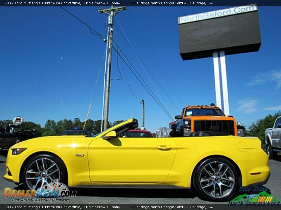 2017 Ford Mustang GT Premium Convertible Triple Yellow / Ebony Photo #2