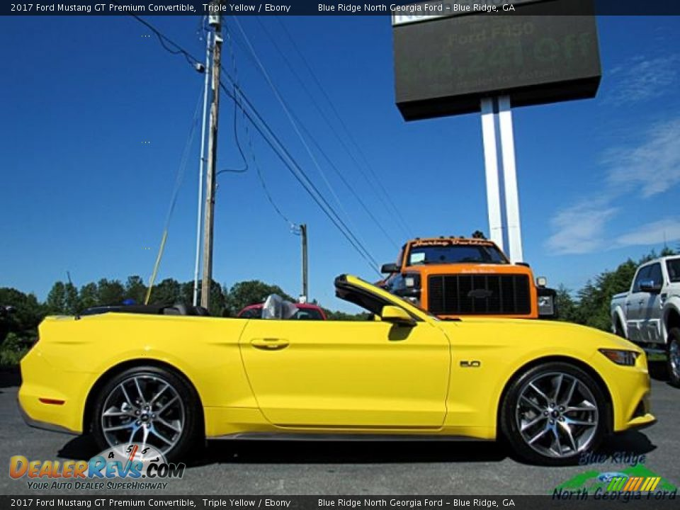 2017 Ford Mustang GT Premium Convertible Triple Yellow / Ebony Photo #6