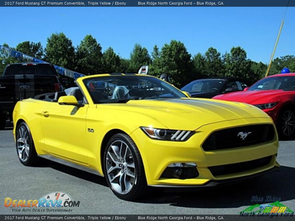 2017 Ford Mustang GT Premium Convertible Triple Yellow / Ebony Photo #7