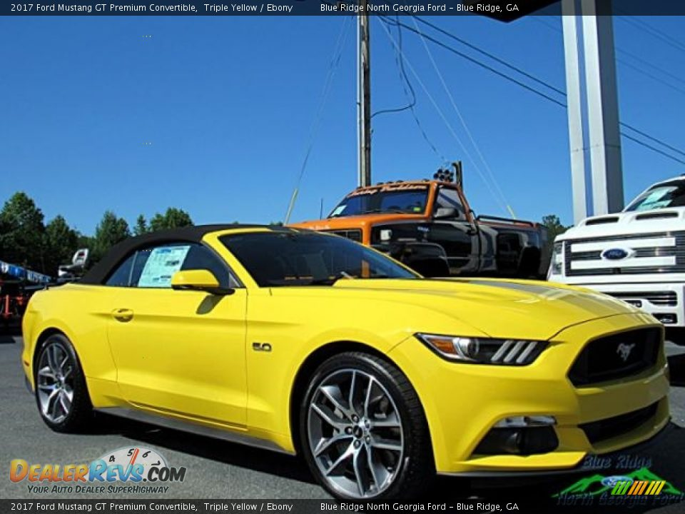 2017 Ford Mustang GT Premium Convertible Triple Yellow / Ebony Photo #10