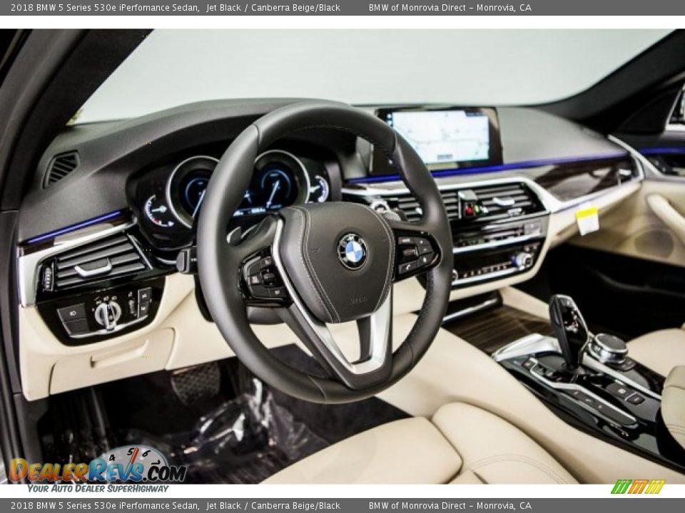 2018 BMW 5 Series 530e iPerfomance Sedan Jet Black / Canberra Beige/Black Photo #5