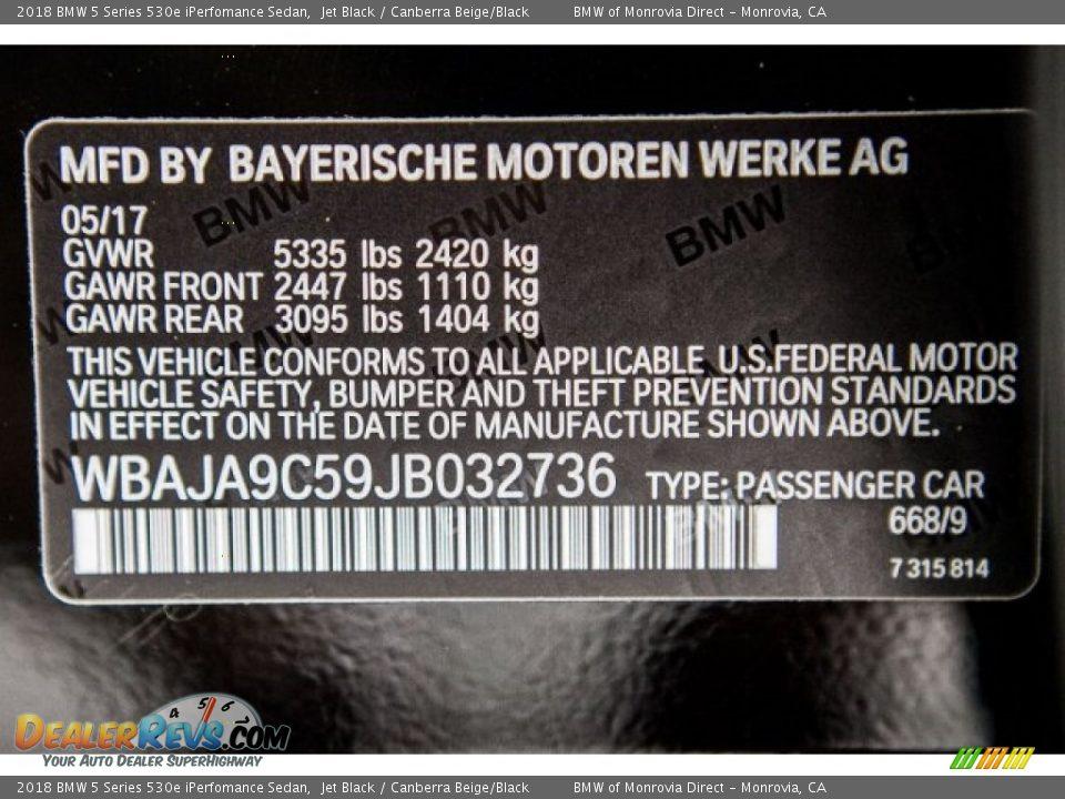 2018 BMW 5 Series 530e iPerfomance Sedan Jet Black / Canberra Beige/Black Photo #11