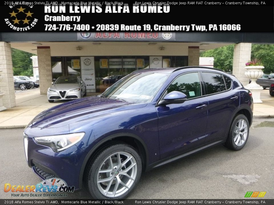 2018 Alfa Romeo Stelvio Ti AWD Montecarlo Blue Metallic / Black/Black Photo #1