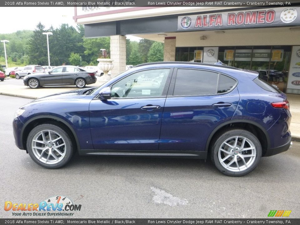 2018 Alfa Romeo Stelvio Ti AWD Montecarlo Blue Metallic / Black/Black Photo #3