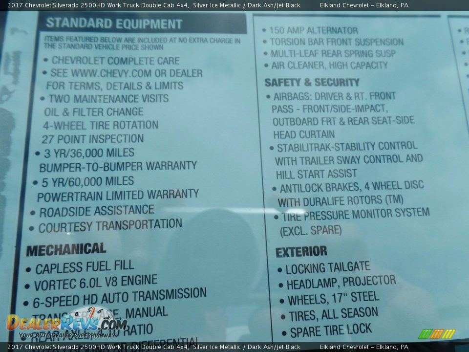 2017 Chevrolet Silverado 2500HD Work Truck Double Cab 4x4 Silver Ice Metallic / Dark Ash/Jet Black Photo #34
