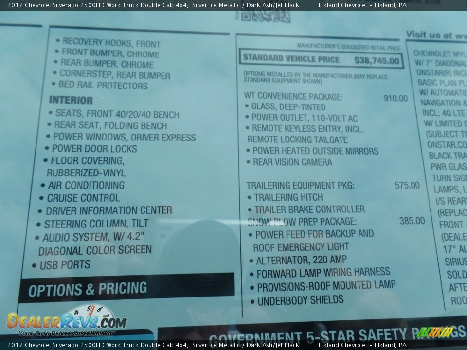 2017 Chevrolet Silverado 2500HD Work Truck Double Cab 4x4 Silver Ice Metallic / Dark Ash/Jet Black Photo #35