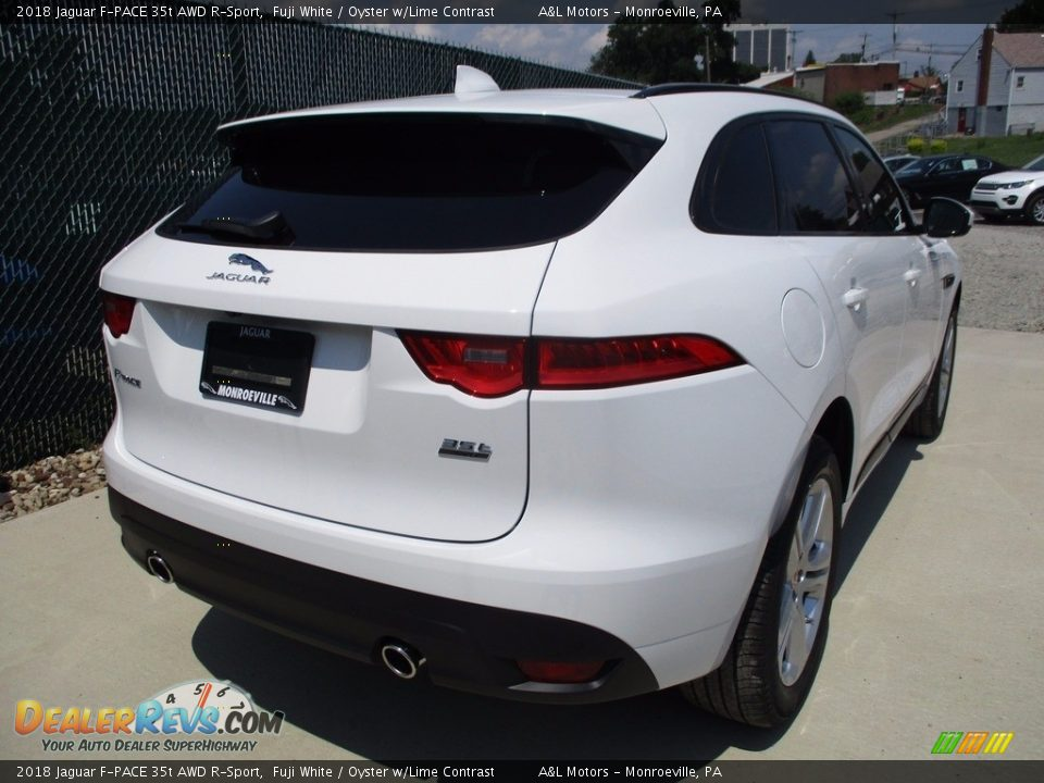 2018 Jaguar F-PACE 35t AWD R-Sport Fuji White / Oyster w/Lime Contrast Photo #3
