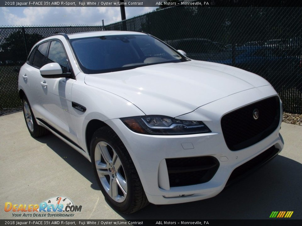 2018 Jaguar F-PACE 35t AWD R-Sport Fuji White / Oyster w/Lime Contrast Photo #6