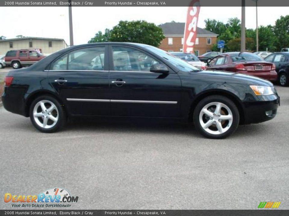 2008 Hyundai Sonata Limited Ebony Black Gray Photo 6
