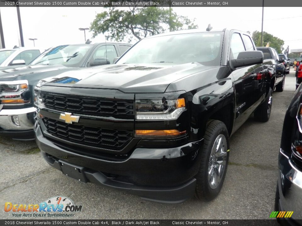 2018 Chevrolet Silverado 1500 Custom Double Cab 4x4 Black / Dark Ash/Jet Black Photo #1