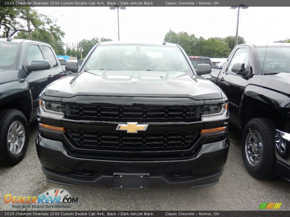 2018 Chevrolet Silverado 1500 Custom Double Cab 4x4 Black / Dark Ash/Jet Black Photo #2