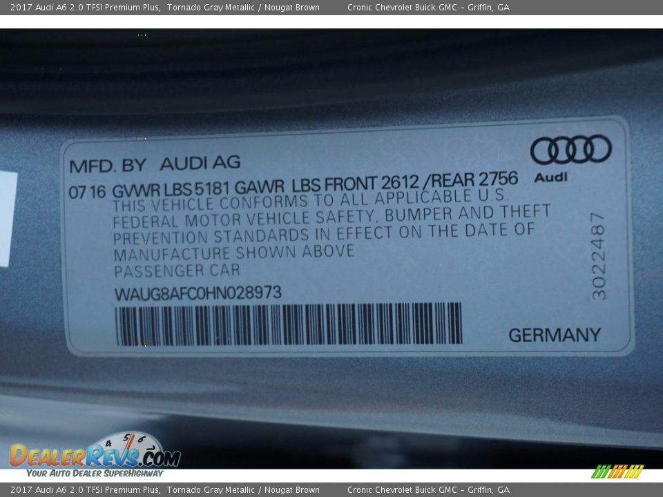 2017 Audi A6 2.0 TFSI Premium Plus Tornado Gray Metallic / Nougat Brown Photo #26