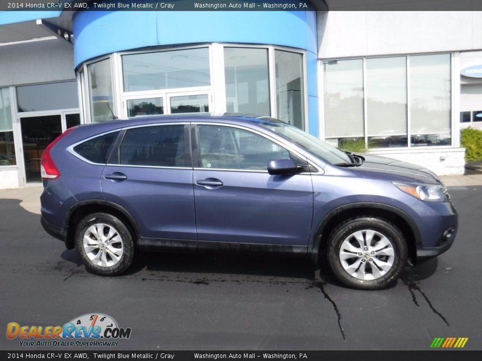 2014 Honda CR-V EX AWD Twilight Blue Metallic / Gray Photo #2