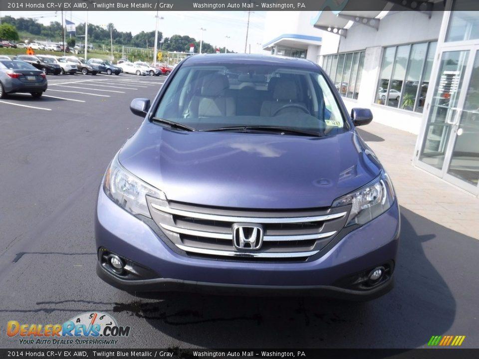 2014 Honda CR-V EX AWD Twilight Blue Metallic / Gray Photo #4