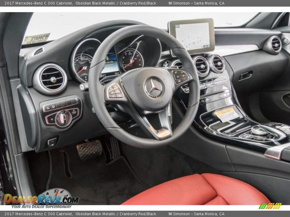 2017 Mercedes-Benz C 300 Cabriolet Obsidian Black Metallic / Cranberry Red/Black Photo #6