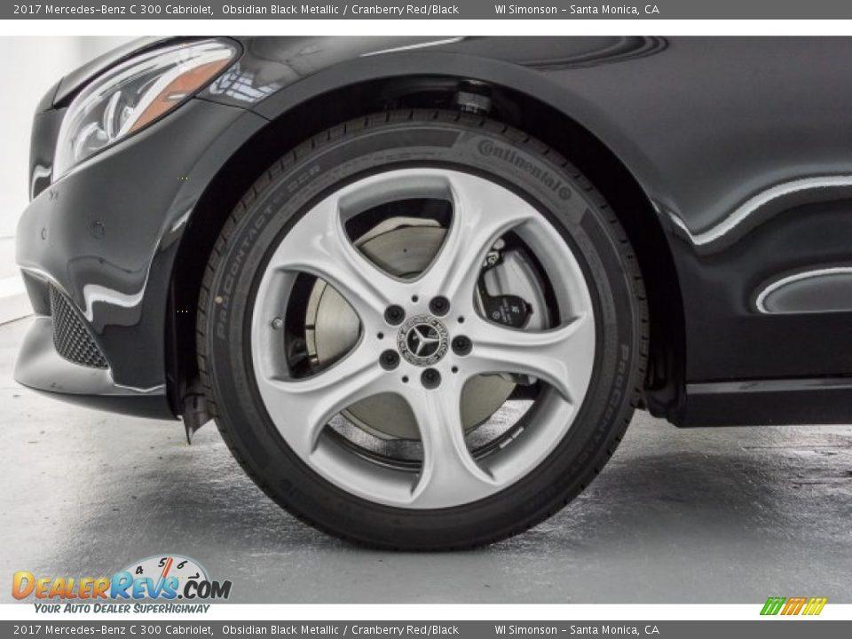 2017 Mercedes-Benz C 300 Cabriolet Obsidian Black Metallic / Cranberry Red/Black Photo #9
