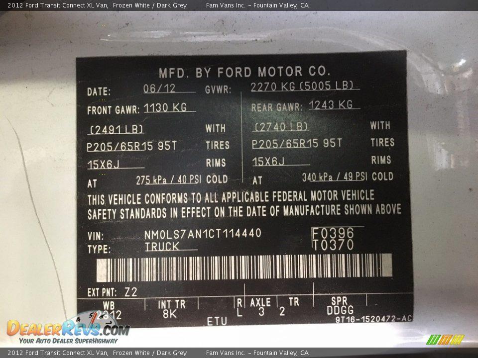 2012 Ford Transit Connect XL Van Frozen White / Dark Grey Photo #20