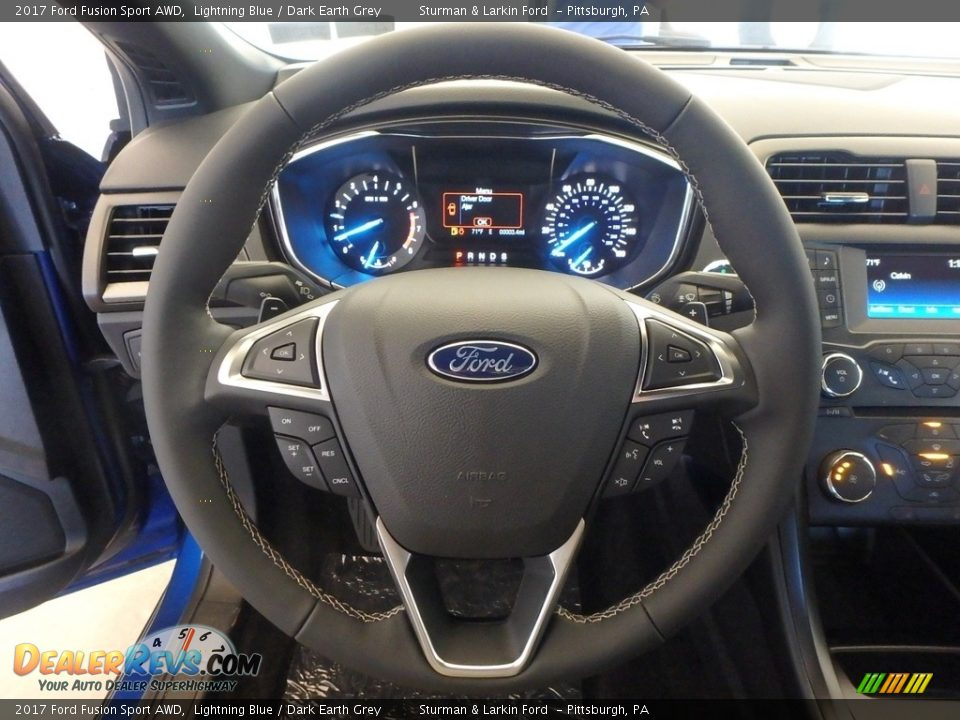 2017 Ford Fusion Sport AWD Lightning Blue / Dark Earth Grey Photo #15