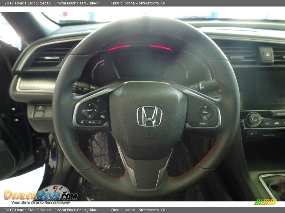 2017 Honda Civic Si Sedan Crystal Black Pearl / Black Photo #19