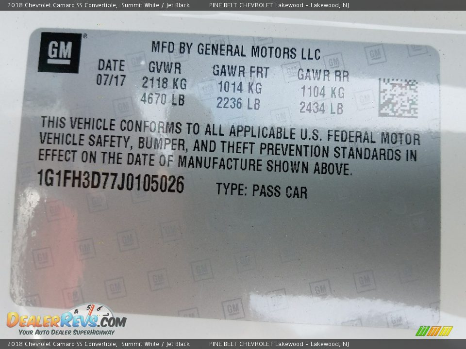 2018 Chevrolet Camaro SS Convertible Summit White / Jet Black Photo #8