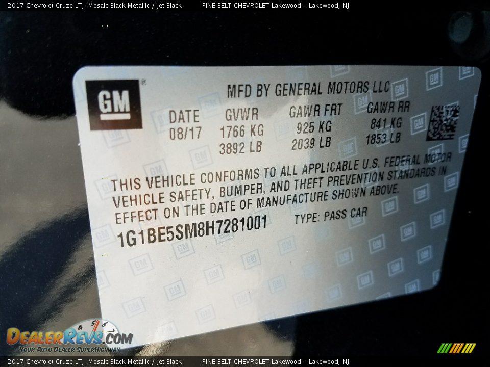 2017 Chevrolet Cruze LT Mosaic Black Metallic / Jet Black Photo #9
