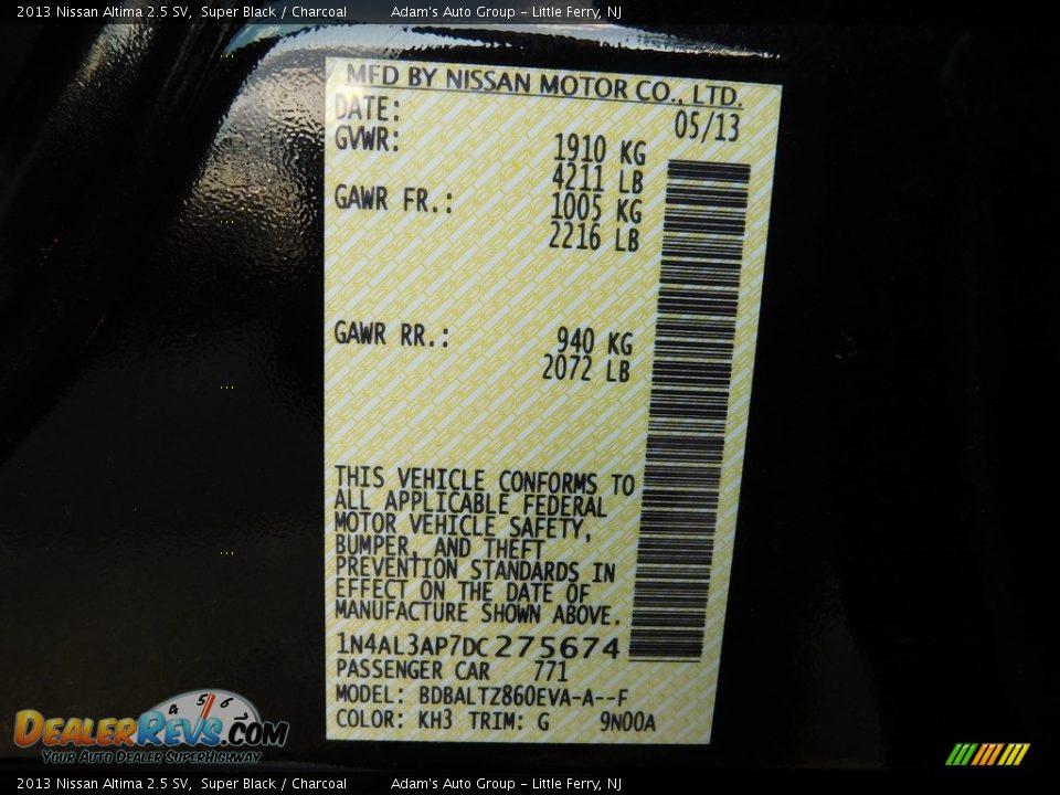 2013 Nissan Altima 2.5 SV Super Black / Charcoal Photo #9
