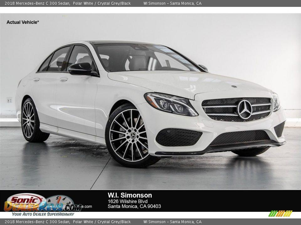 2018 Mercedes-Benz C 300 Sedan Polar White / Crystal Grey/Black Photo #1
