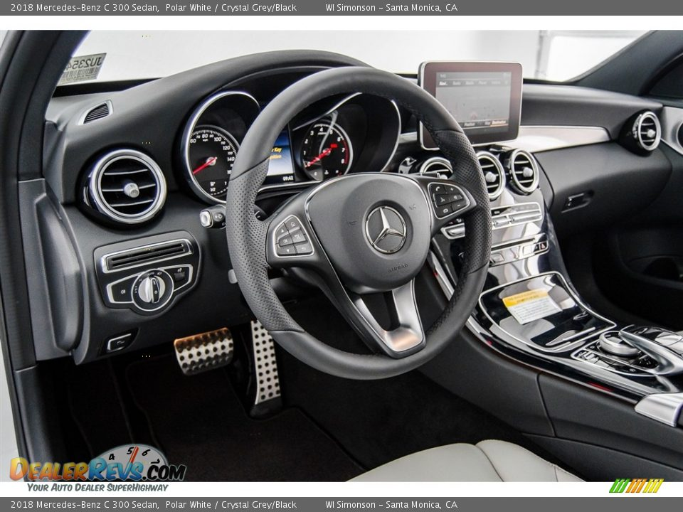 2018 Mercedes-Benz C 300 Sedan Polar White / Crystal Grey/Black Photo #6
