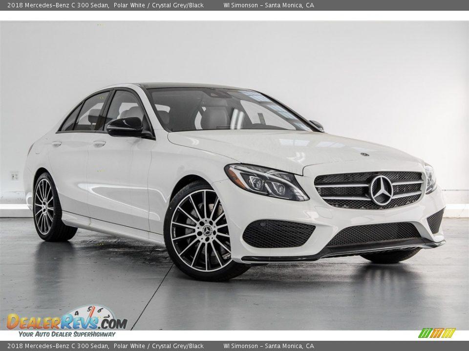 2018 Mercedes-Benz C 300 Sedan Polar White / Crystal Grey/Black Photo #12