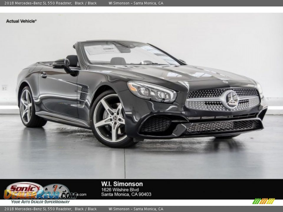 2018 Mercedes-Benz SL 550 Roadster Black / Black Photo #1