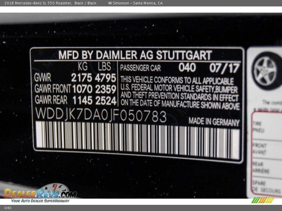 Mercedes-Benz Color Code 040 Black