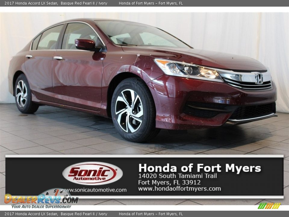 2017 Honda Accord LX Sedan Basque Red Pearl II / Ivory Photo #1