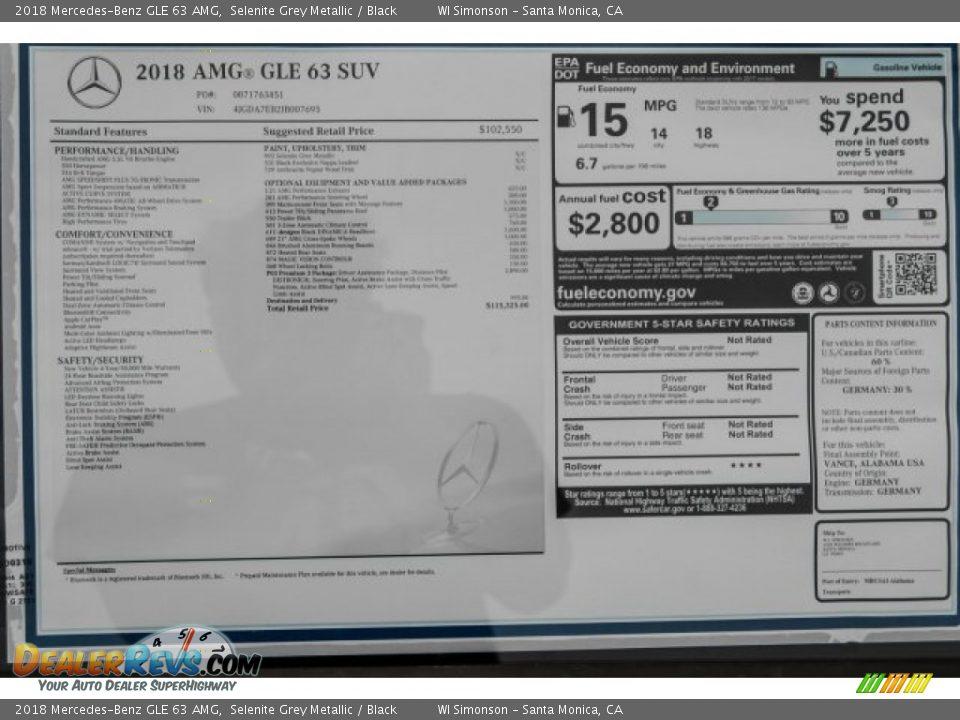 2018 Mercedes-Benz GLE 63 AMG Selenite Grey Metallic / Black Photo #10