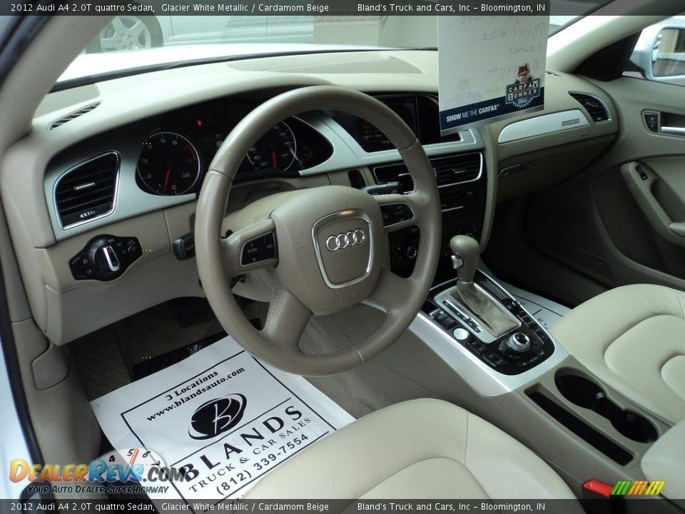 2012 Audi A4 2.0T quattro Sedan Glacier White Metallic / Cardamom Beige Photo #6