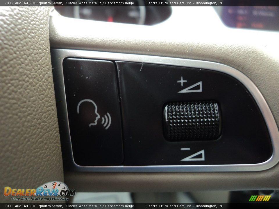2012 Audi A4 2.0T quattro Sedan Glacier White Metallic / Cardamom Beige Photo #18