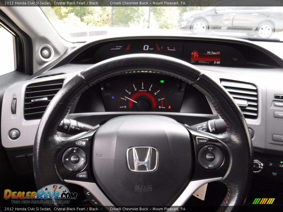 2012 Honda Civic Si Sedan Crystal Black Pearl / Black Photo #26