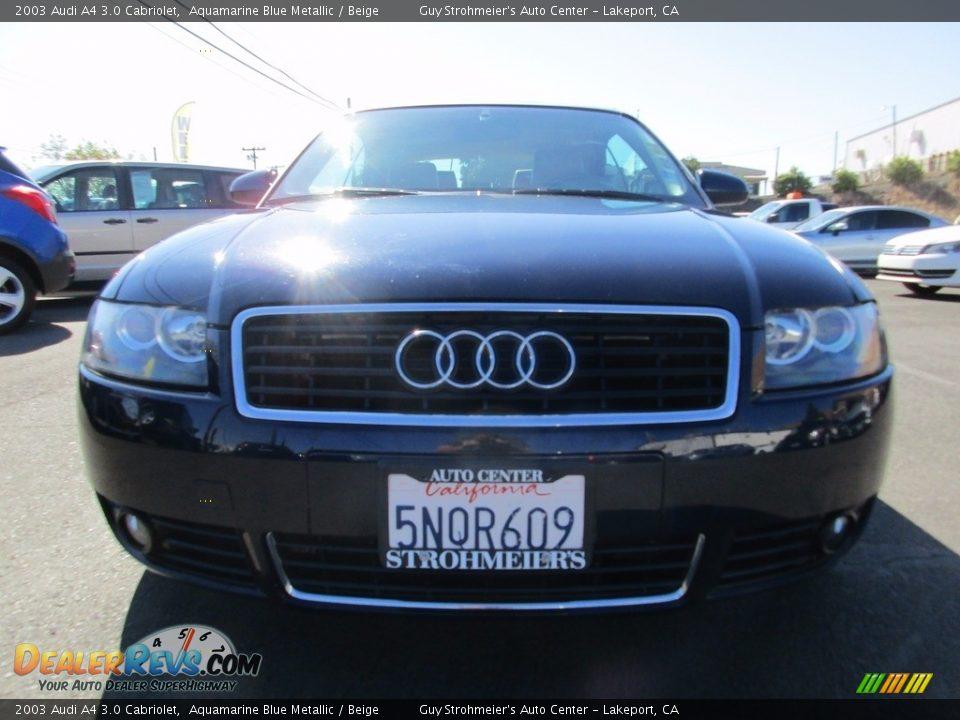 2003 Audi A4 3.0 Cabriolet Aquamarine Blue Metallic / Beige Photo #2