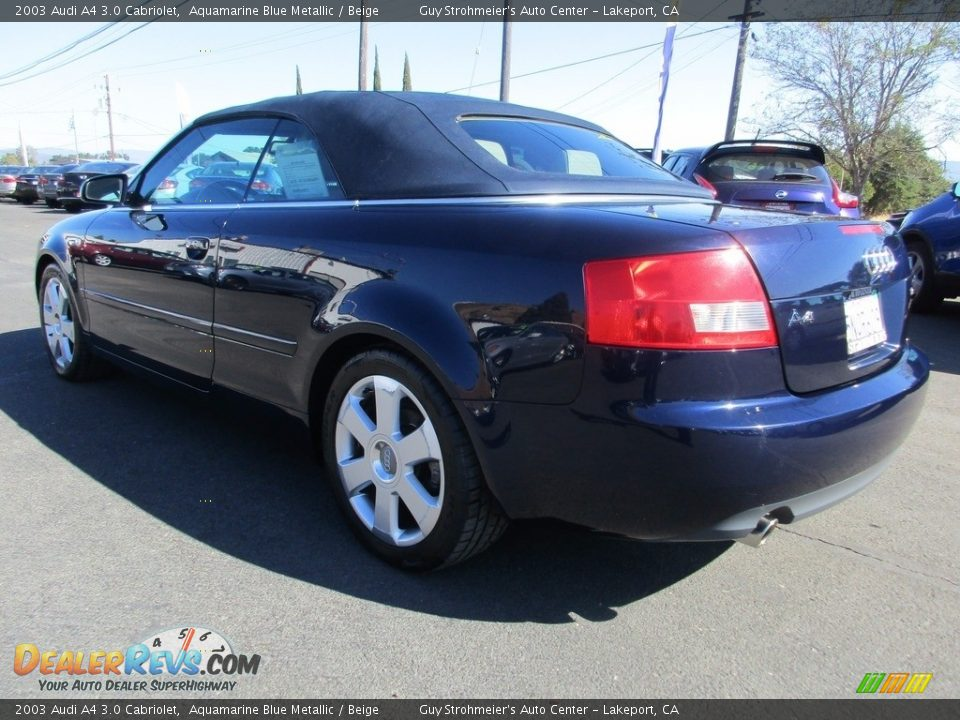 2003 Audi A4 3.0 Cabriolet Aquamarine Blue Metallic / Beige Photo #5