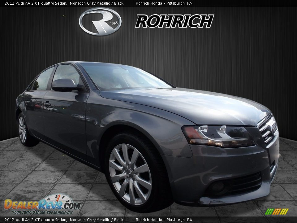 2012 Audi A4 2.0T quattro Sedan Monsoon Gray Metallic / Black Photo #1