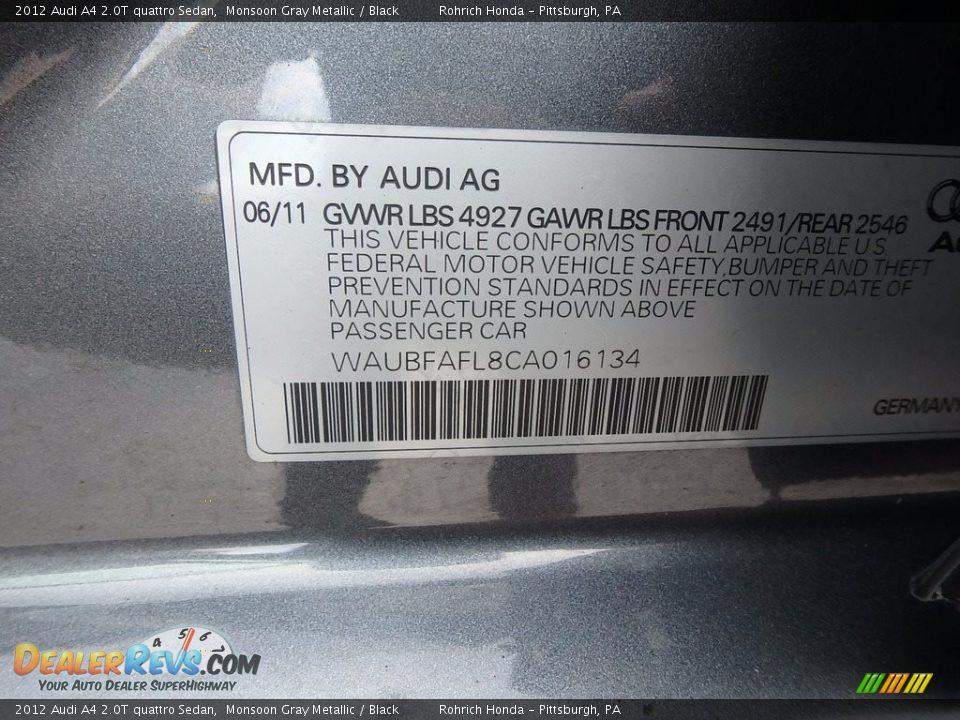 2012 Audi A4 2.0T quattro Sedan Monsoon Gray Metallic / Black Photo #27