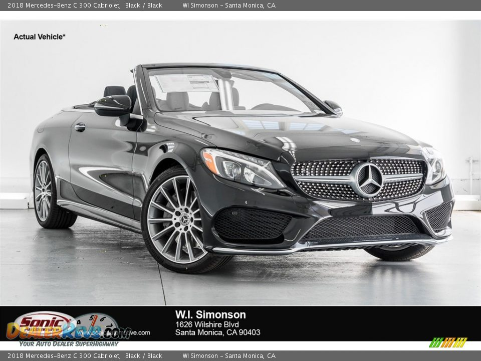 2018 Mercedes-Benz C 300 Cabriolet Black / Black Photo #1