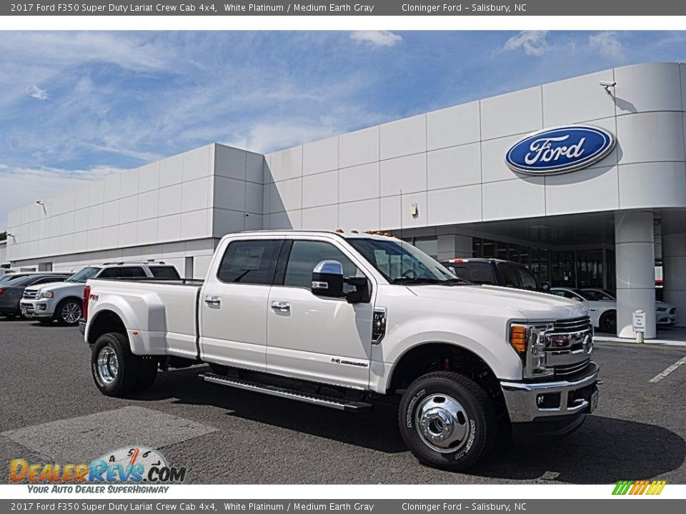 2017 Ford F350 Super Duty Lariat Crew Cab 4x4 White Platinum / Medium Earth Gray Photo #1