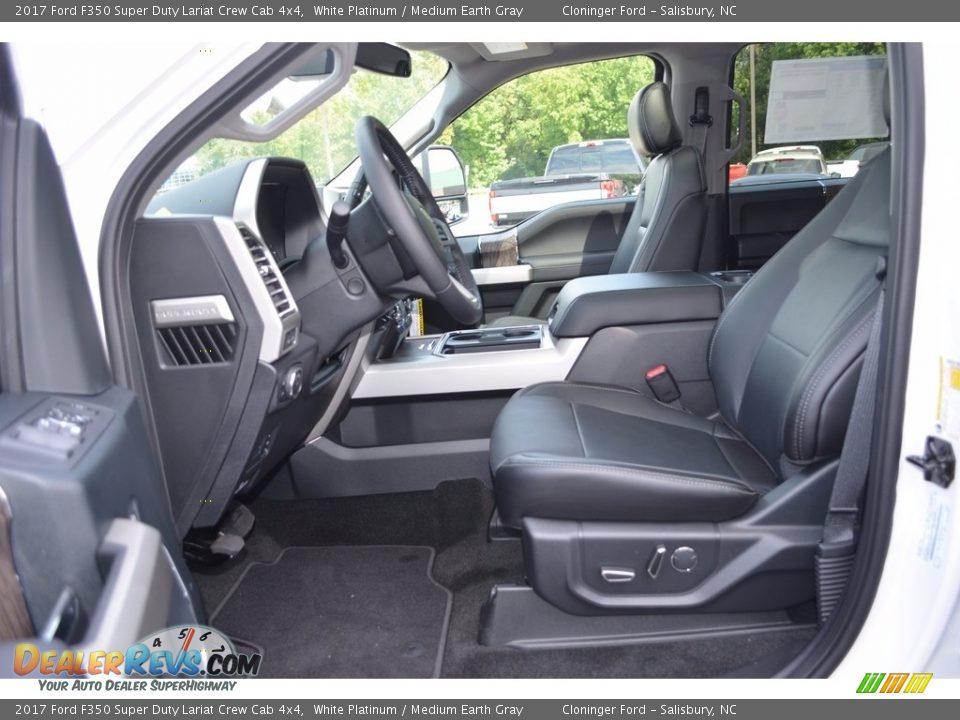 2017 Ford F350 Super Duty Lariat Crew Cab 4x4 White Platinum / Medium Earth Gray Photo #8