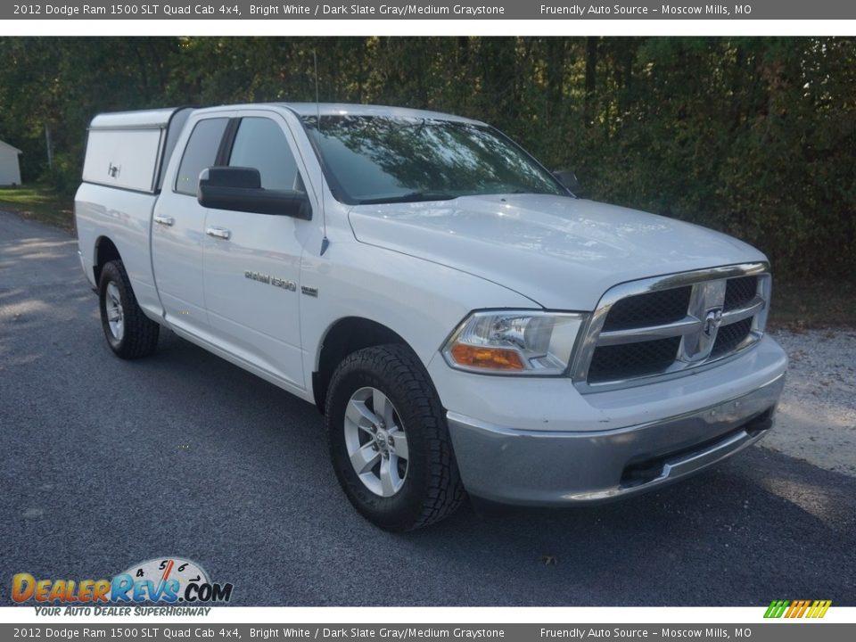 2012 Dodge Ram 1500 SLT Quad Cab 4x4 Bright White / Dark Slate Gray/Medium Graystone Photo #4