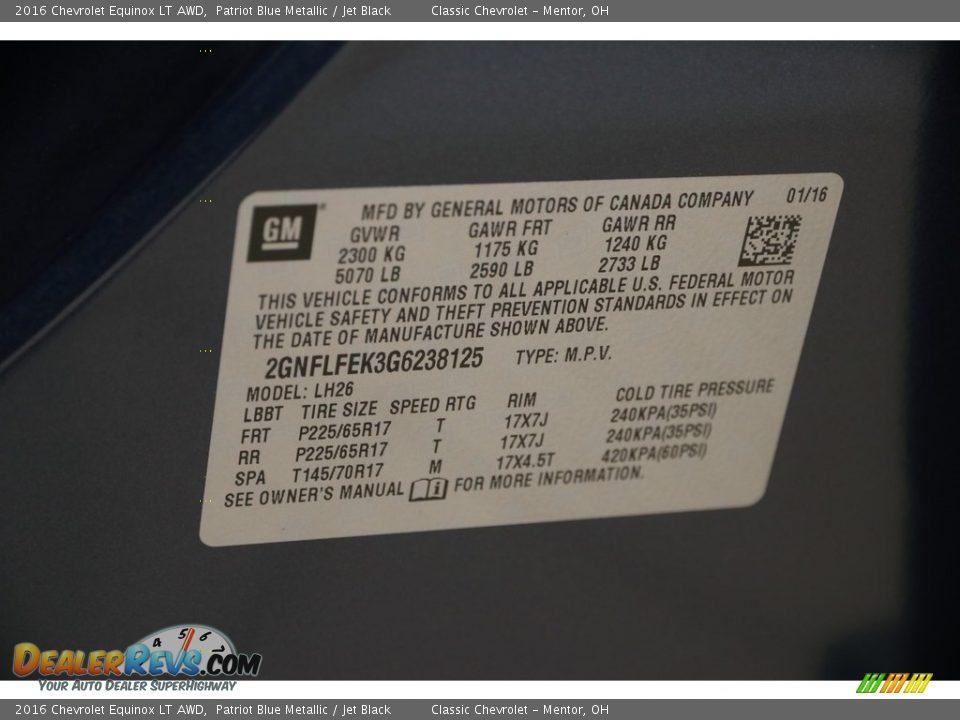 2016 Chevrolet Equinox LT AWD Patriot Blue Metallic / Jet Black Photo #17