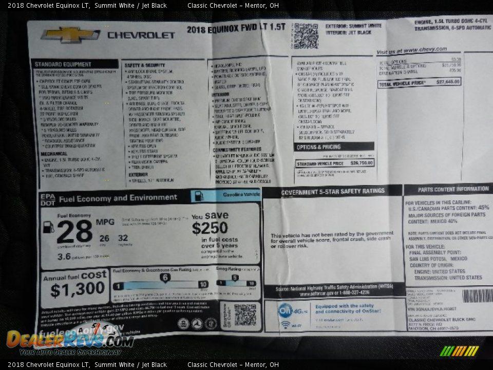 2018 Chevrolet Equinox LT Summit White / Jet Black Photo #7