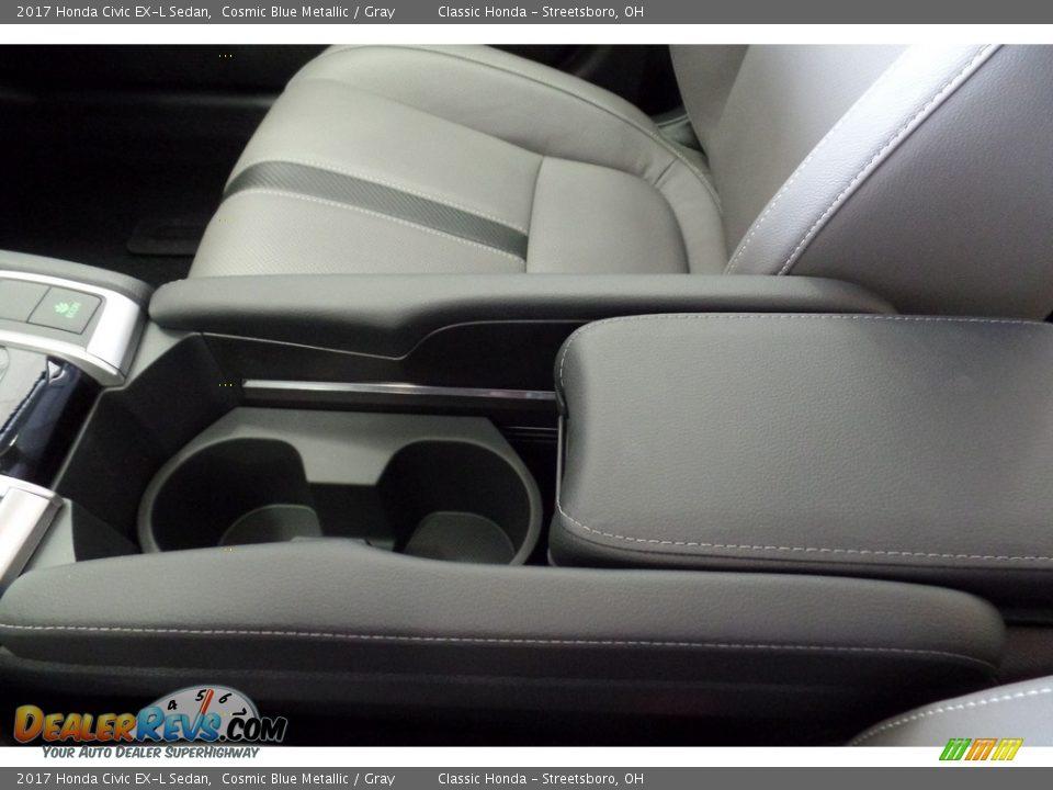 2017 Honda Civic EX-L Sedan Cosmic Blue Metallic / Gray Photo #21