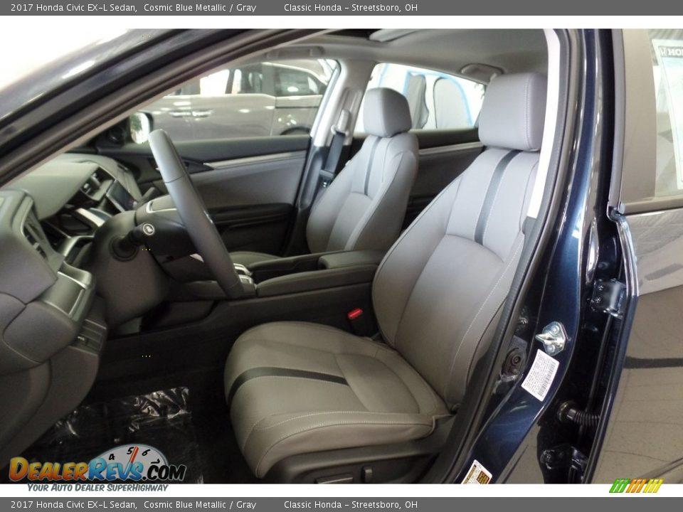 2017 Honda Civic EX-L Sedan Cosmic Blue Metallic / Gray Photo #24