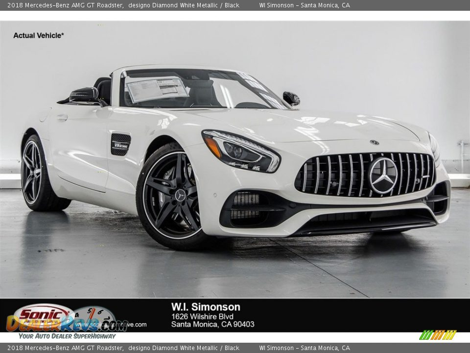 2018 Mercedes-Benz AMG GT Roadster designo Diamond White Metallic / Black Photo #2