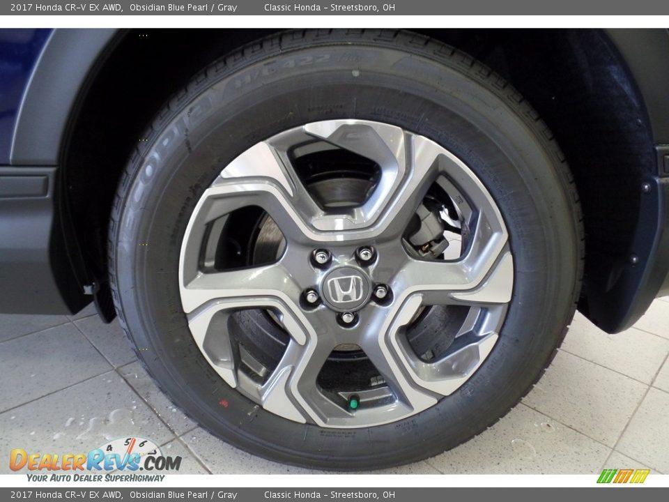 2017 Honda CR-V EX AWD Obsidian Blue Pearl / Gray Photo #17